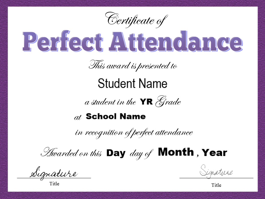 8 free sample attendance certificate templates printable samples here is preview of another sample perfect attendance certificate template created using ms word yelopaper Gallery