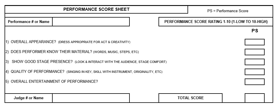 Free Sample Talent Show Score Sheet Templates  Samples