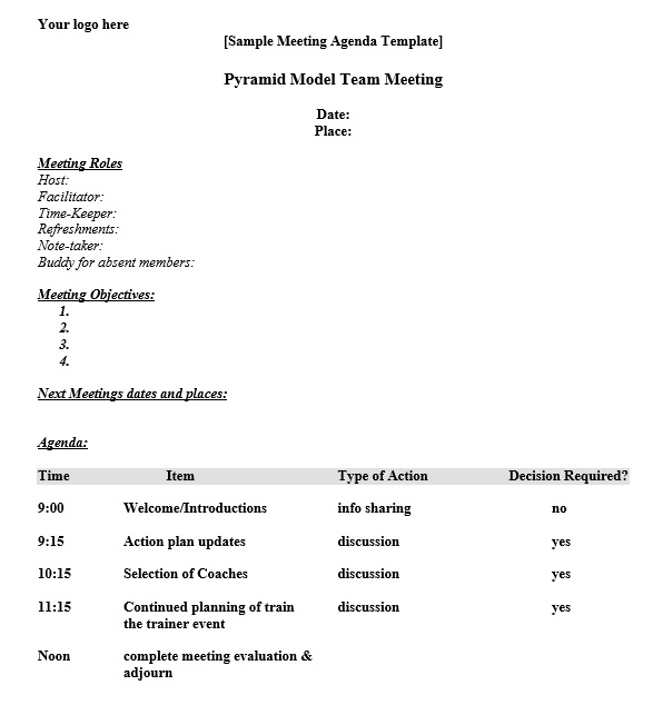 Here Is Preview Of Another Sample Basic Meeting Agenda Template Created  Using MS Word,