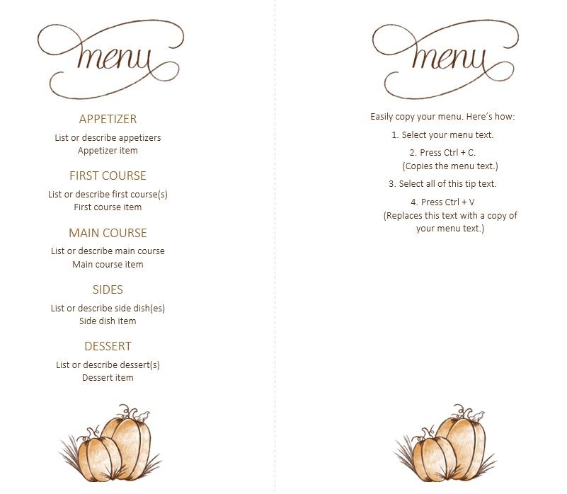 7 Free Sample Thanksgiving Menu Templates - Printable Samples
