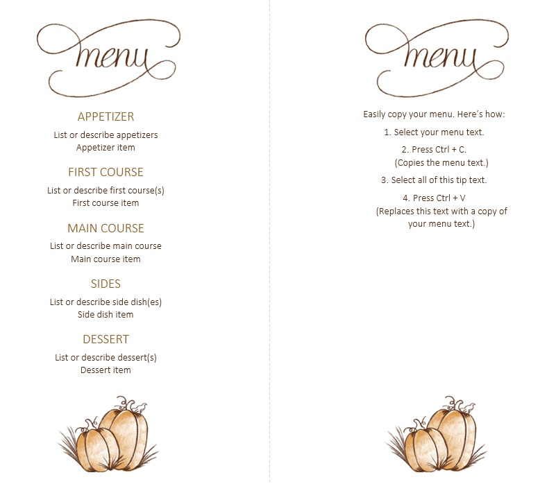 Free Sample Thanksgiving Menu Templates  Printable Samples