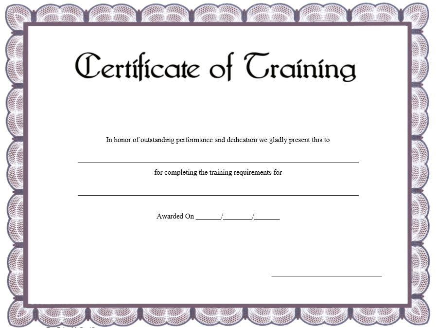 11 Free Sample Training Certificate Templates - Printable Samples
