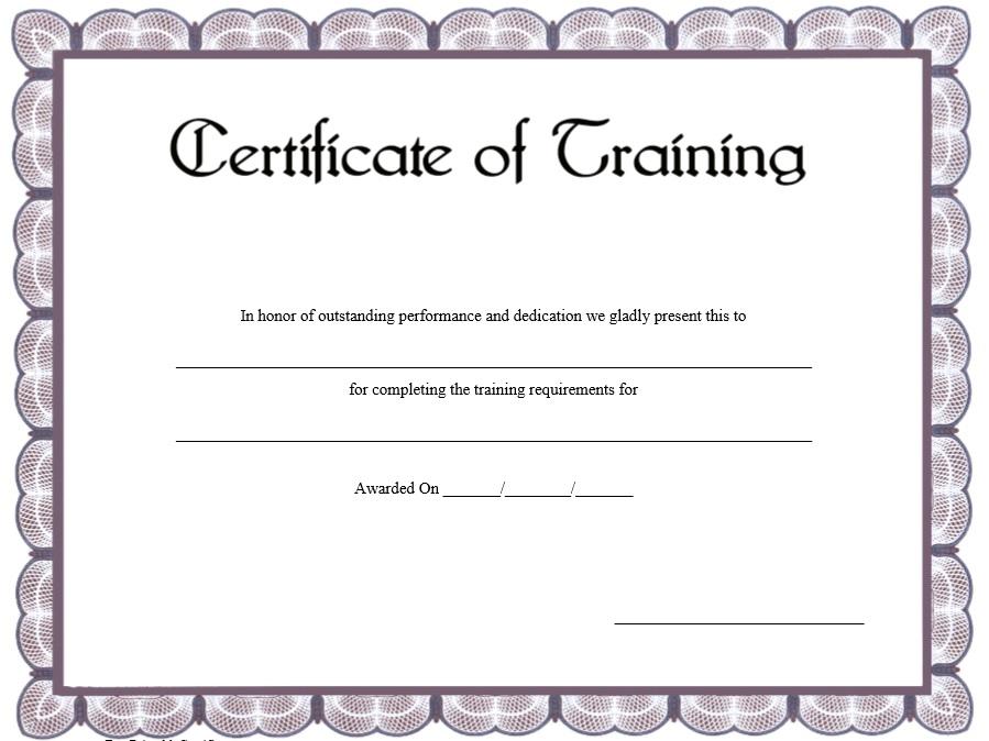 11 Free Sample Training Certificate Templates Printable Samples