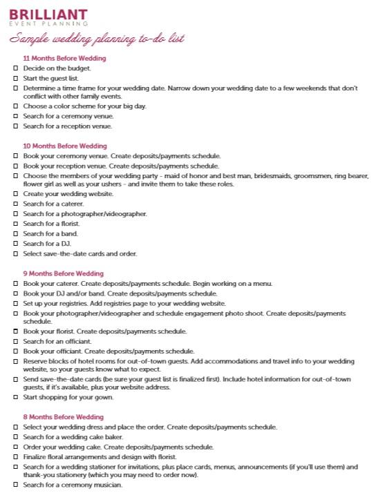 10 free sample wedding to do list templates printable samples