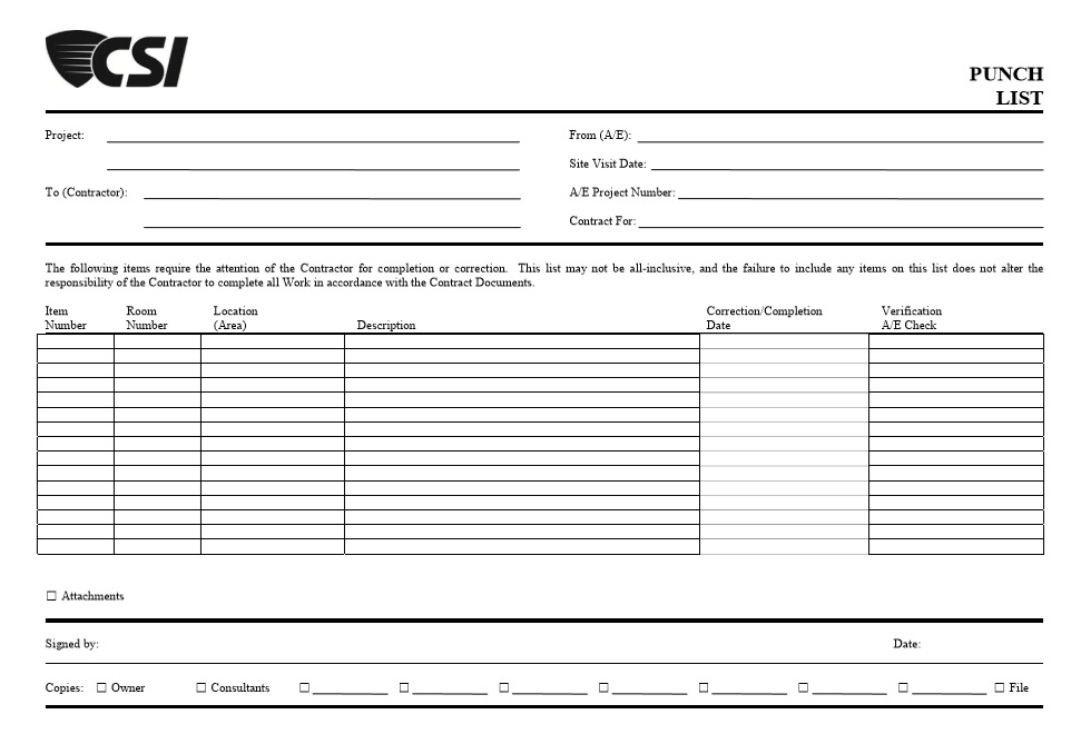 7 free sample construction punch list templates