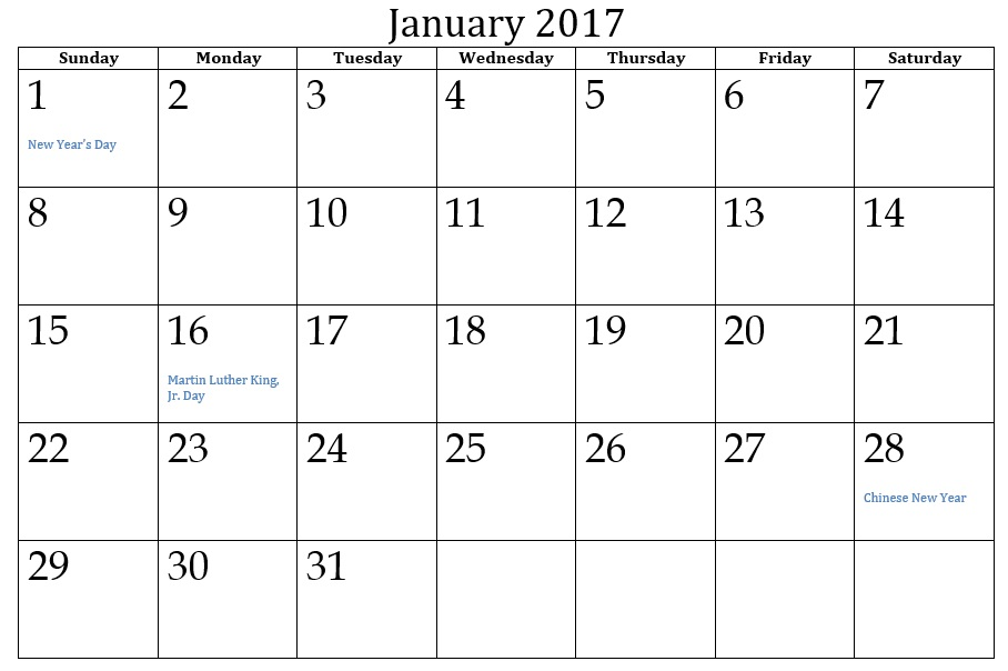 9 Free Sample Calendar Templates for 2017 – Printable Samples