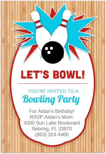 Free Sample Bowling Game Invitation Templates  Printable Samples