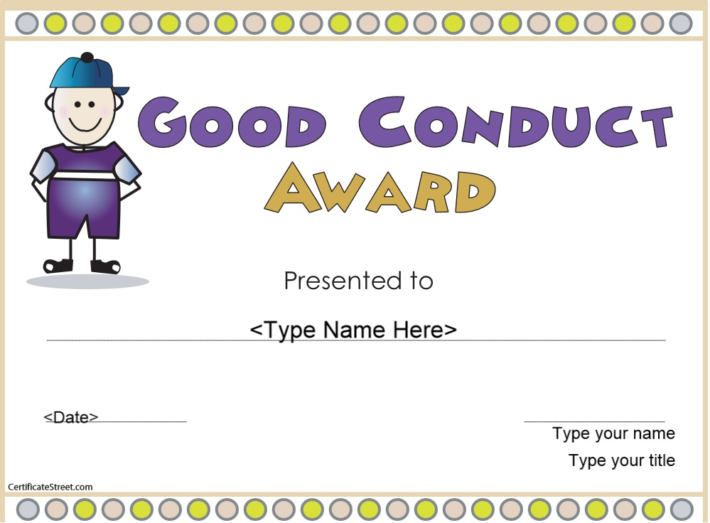 Free Sample Good Conduct Certificate Templates  Printable Samples