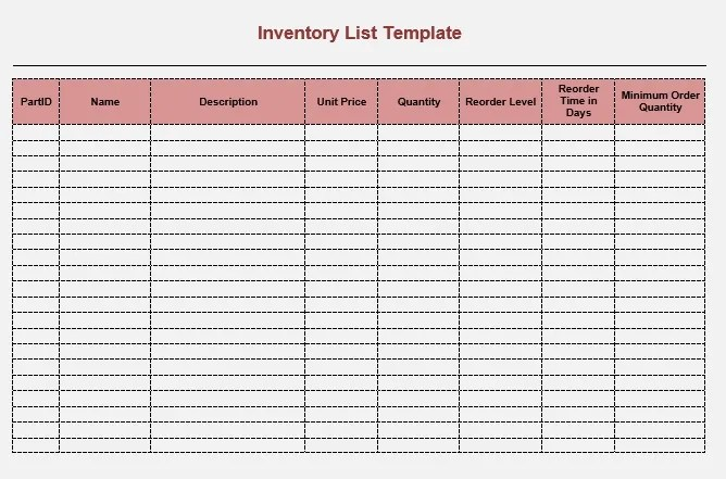 Free Sample Moving Inventory List Templates  Printable Samples