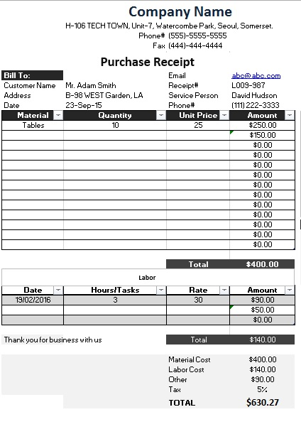 Here Is Preview Of Another Sample Product Purchase Receipt Template Created  Using MS Excel,  Purchase Receipt Template Free