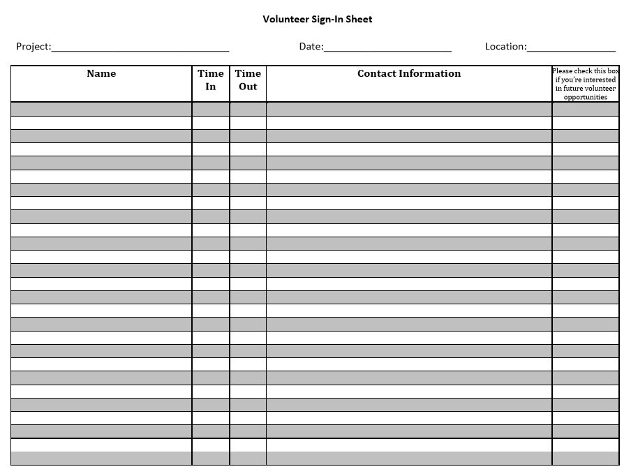 10 Free Sample Volunteer Sign in Sheet Templates - Printable Samples