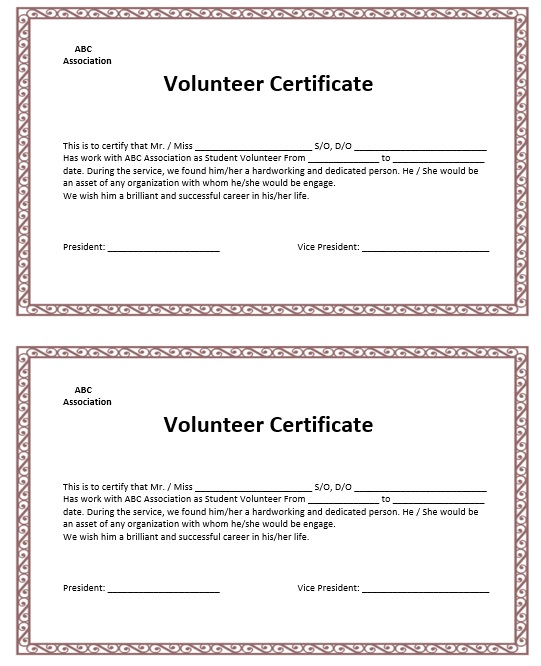Free Sample Volunteer Certificate Templates  Printable Samples