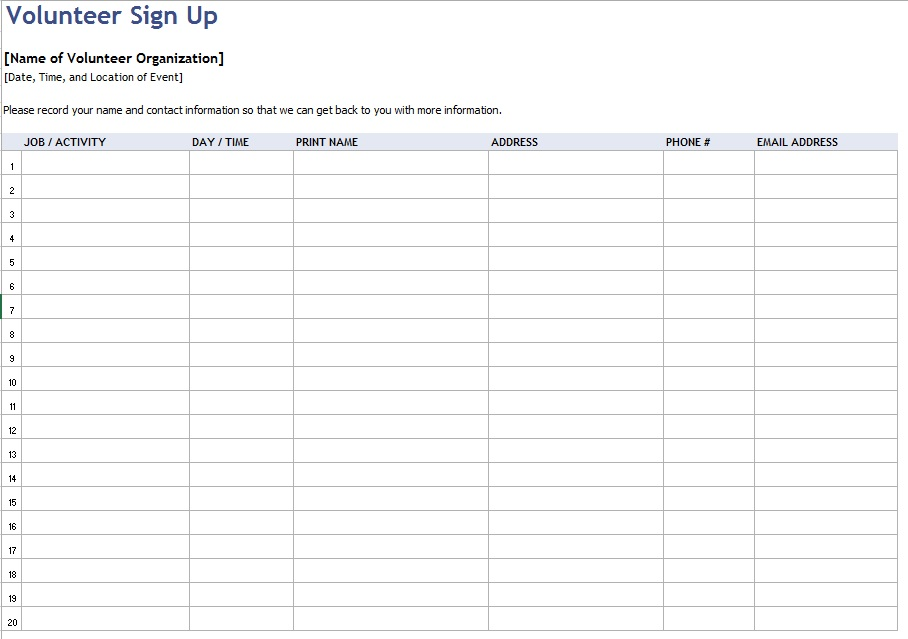 Here Is Preview Of Another Sample Volunteer Sign Up Sheet Template Created  Using MS Excel,