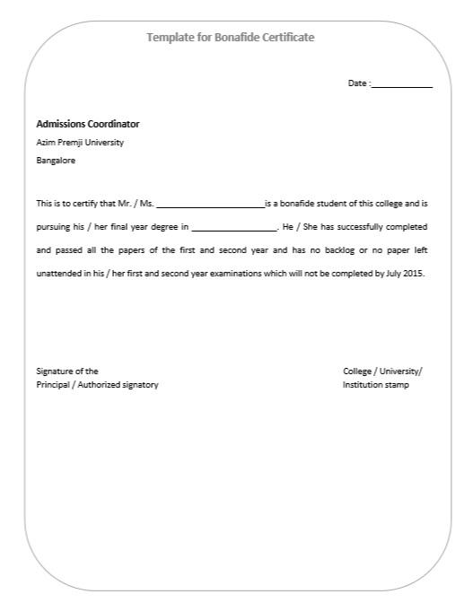 10 Free Sample Bonafide Certificate Templates Printable Samples