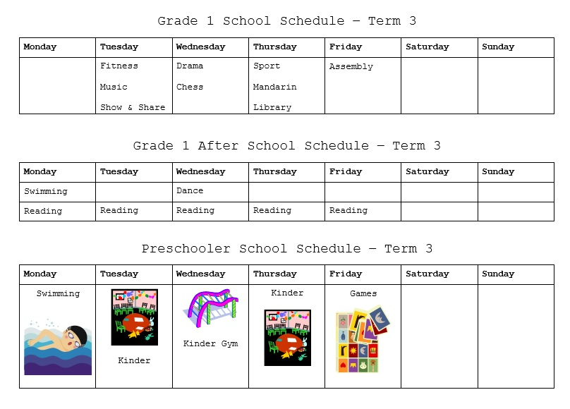 sample schedule template