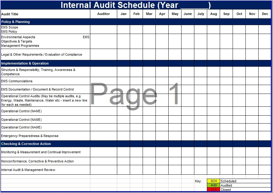 8 free sample audit schedule templates printable samples for Annual internal audit plan template
