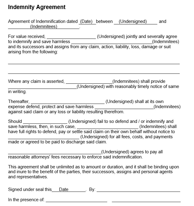 Free Sample Indemnity Agreement Templates  Printable Samples
