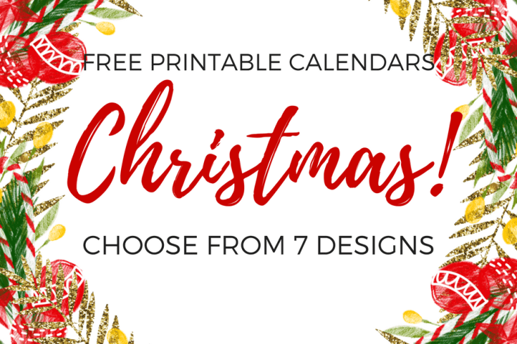 Christmas calendar, free printable December calendar, Christmas decor