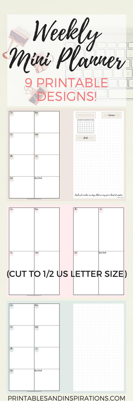 Weekly planner, my personal mini planner in pastel colors, free printable planner in 9 designs