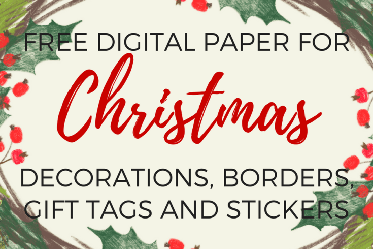 free digital paper for Christmas decorations, Christmas gift tags stickers labels, Christmas border design