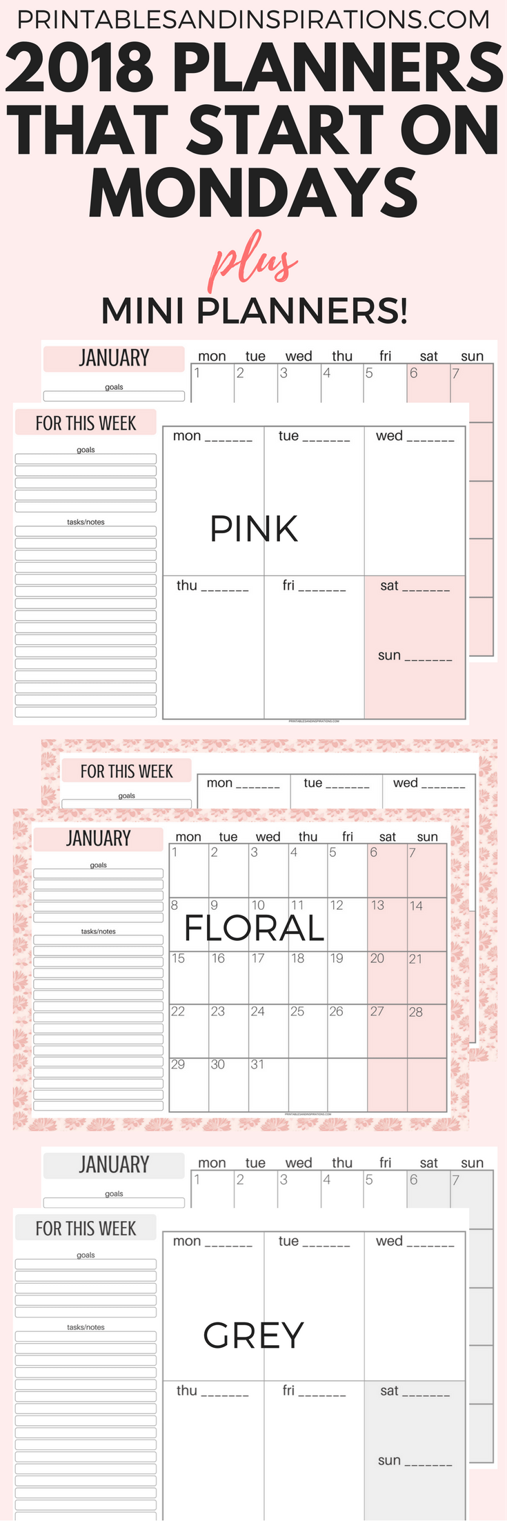 Weekly Calendar Monday To Sunday : Free printable monday calendar week starts on
