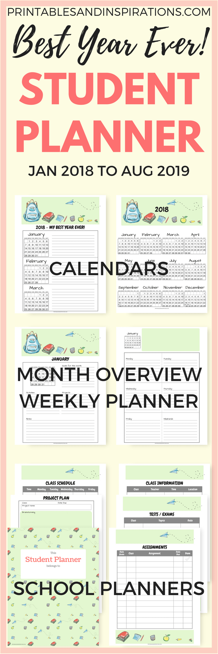 free student planner and printable 2018 calendar for kids free