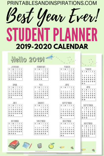 Free Printable 2019-2020 calendar plus Student Planner Binder For 2019 2020 PDF with monthly planner, weekly planner, project planner, assignments, class schedule and more. #freeprintable #printablesandinspirations #studentplanner #studentbinder