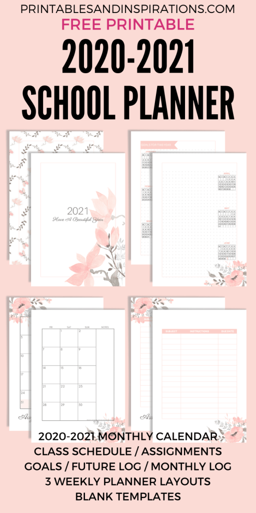 Free Printable 2020 2021 Planner For School Or Work! A4 or A5 planner with 2020 2021 monthly calendar and more school planner pages. Free download now! #freeprintable #printableplanner #printablesandinspirations #backtoschool