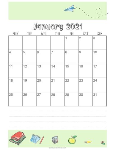 Free printable 2021 student calendar - monthly calendar printable #printablesandinspirations #backtoschool