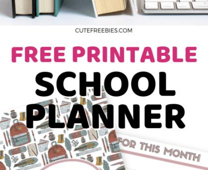 School planner free printable