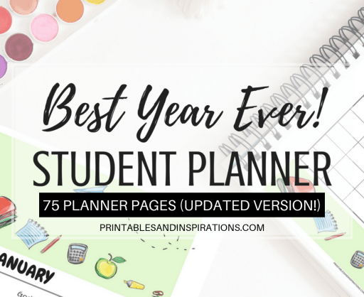 Free Printable Student Planner Binder For 2019 2020 PDF with 2019-2020 calendar, monthly planner, weekly planner, project planner, assignments, class schedule and more. #freeprintable #printablesandinspirations #studentplanner #studentbinder