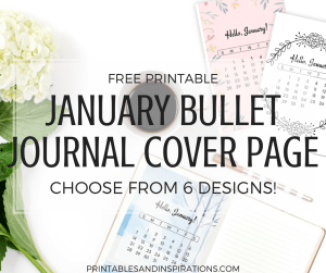 January calendar and January bullet journal cover page designs, January bullet journal ideas, bujo cover page, planner printables with January calendar