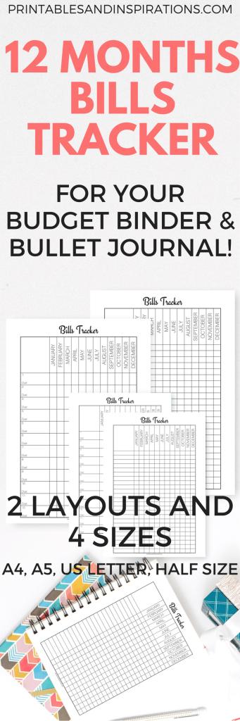 Free printable bills tracker for budget binder and bullet journal, bills organization, budget printables, expense tracker