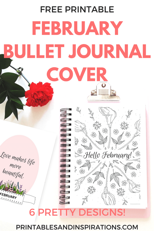 Free Printable February Bullet Journal Cover Page And