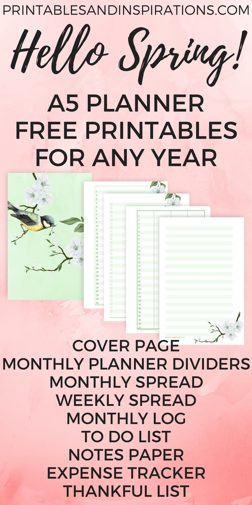 picture regarding A5 Planner Printables named Totally free A5 Planner Printables For Any Calendar year - Howdy Spring