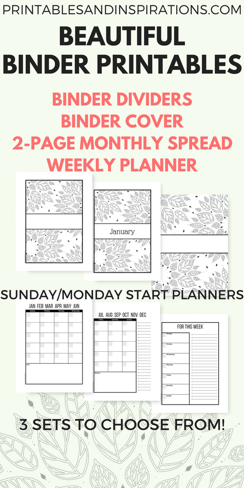 Free Printable Binder Dividers And Binder Covers Floral - Organization printables