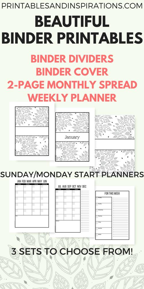 free printable binder dividers and binder covers floral
