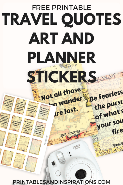 Travel Quotes Free Printable Art And Planner Stickers Printables