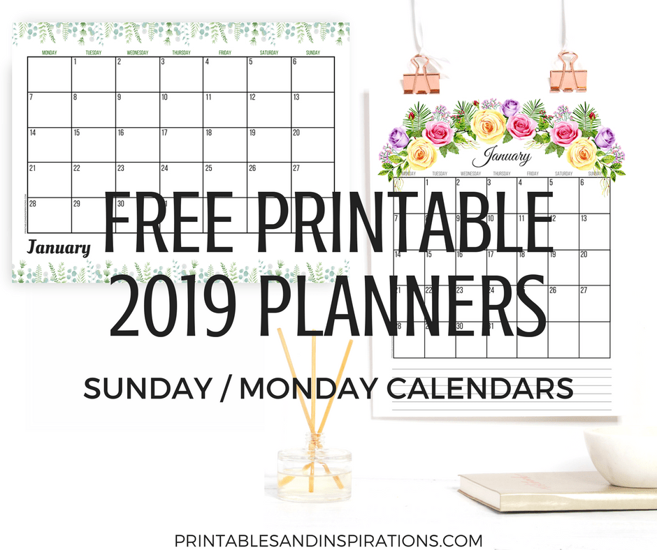 Free 2019 Planner Printable PDF With Sunday And Monday