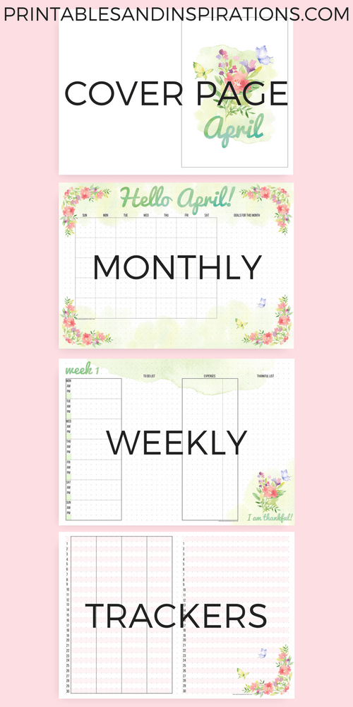 April bullet journal ideas, free bullet journal printables, bullet journal layout for April, free printable bullet journal weekly spread, bullet journal monthly spread, traveler's notebook planner