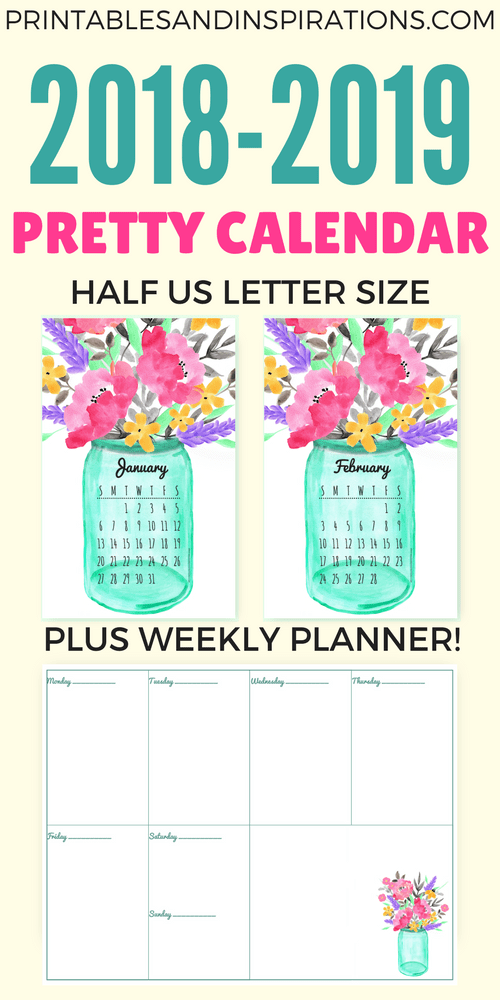 Free Printable Half Size Calendar 2018 And 2019 Printables And