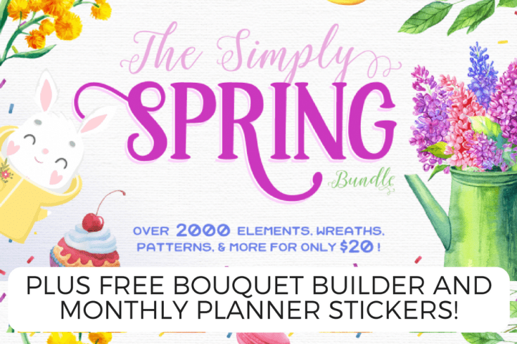 Simply spring bundle, watercolor flowers, spring graphics, easter images, free planner stickers printable, free watercolor flowers