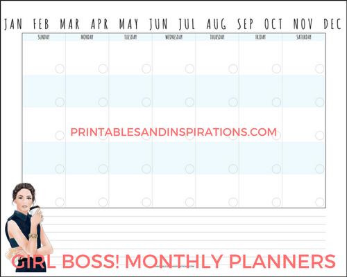Girl Boss monthly planner, pretty monthly planner printables, girl boss calendar, monthly spread, free printable calendar, free printable planner with girl design