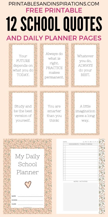 Free printable half size school planner for kids - printable student planner with class schedule, calendar spread, assignments page, blank notes page and school doodles design. #backtoschool #freeprintable #printablesandinspirations #dailyplanner