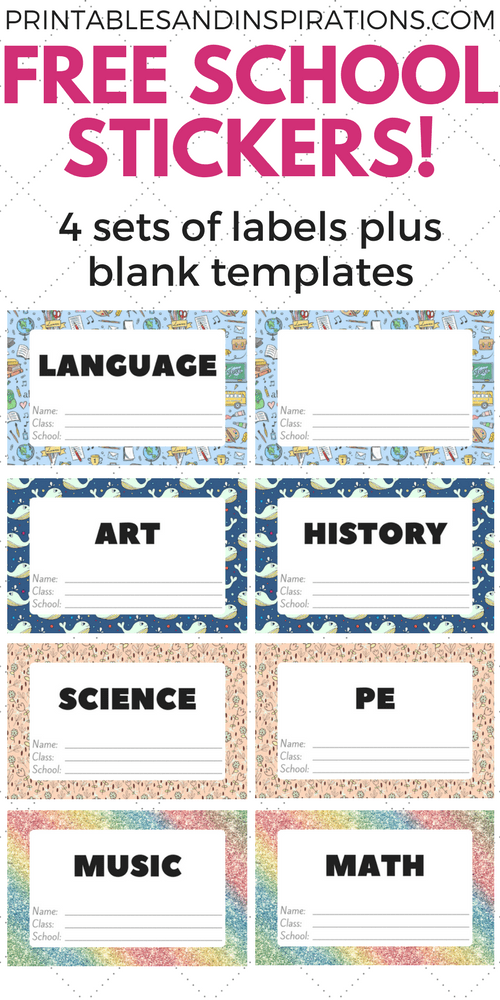 Free Cute Label Stickers For School With Blank Templates ...