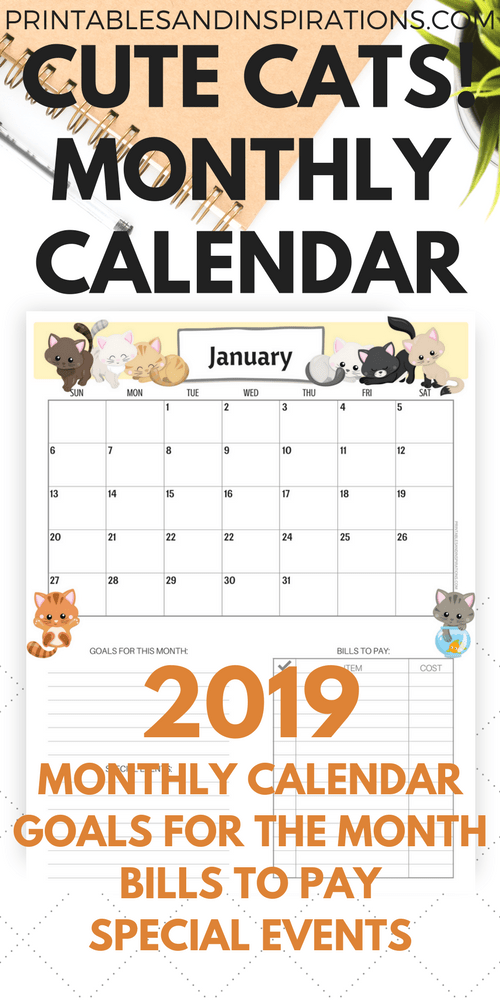 Cute Cats Free Printable Monthly Calendar for 2018 and ...