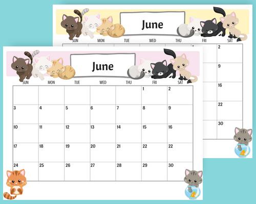 Free printable June 2018 monthly calendar, free 2018 calendar, cute June 2018 calendar, cats