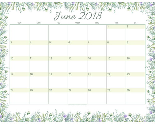 get your free printable june 2018 monthly calendar printables and