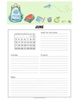Free printable June 2018 monthly calendar, free 2018 calendar, cute June 2018 calendar, student planner