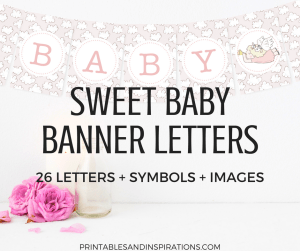 Baby shower banner printable letters with clouds background. Get your free printable baby shower decorations for a cute baby shower theme! #freeprintable #babyshower #printablebanner